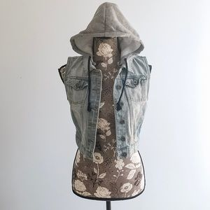 Distressed Denim Hooded Vest size Small